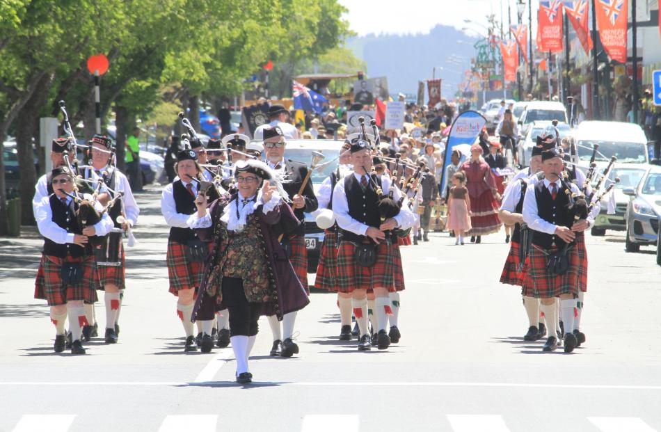 Leading the parade back down Thames St is Central Otago town crier Paddy-Ann Pemberton. Photo:...