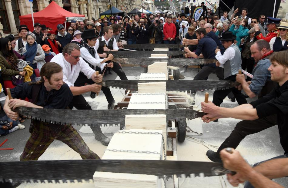 Contestants in the world stone-cutting championships saw their way through  Oamaru stone...