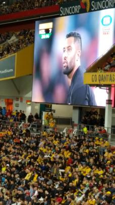 Lima Sopoaga on the big screen at Suncorp Stadium, as he lines up a kick.