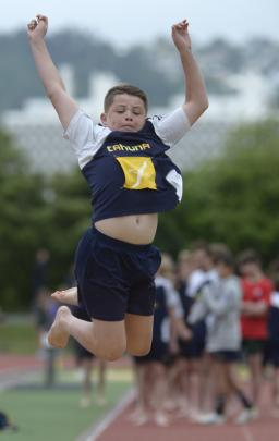 Tahuna Normal Intermediate's Samuel McCormack (12) takes off in the under-13 boys' long jump.
