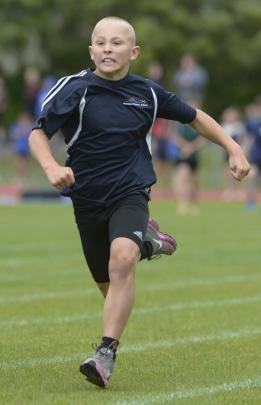 Henry Bowering (10), of Wanaka Primary School, in the under-11 boys' 75m sprint.