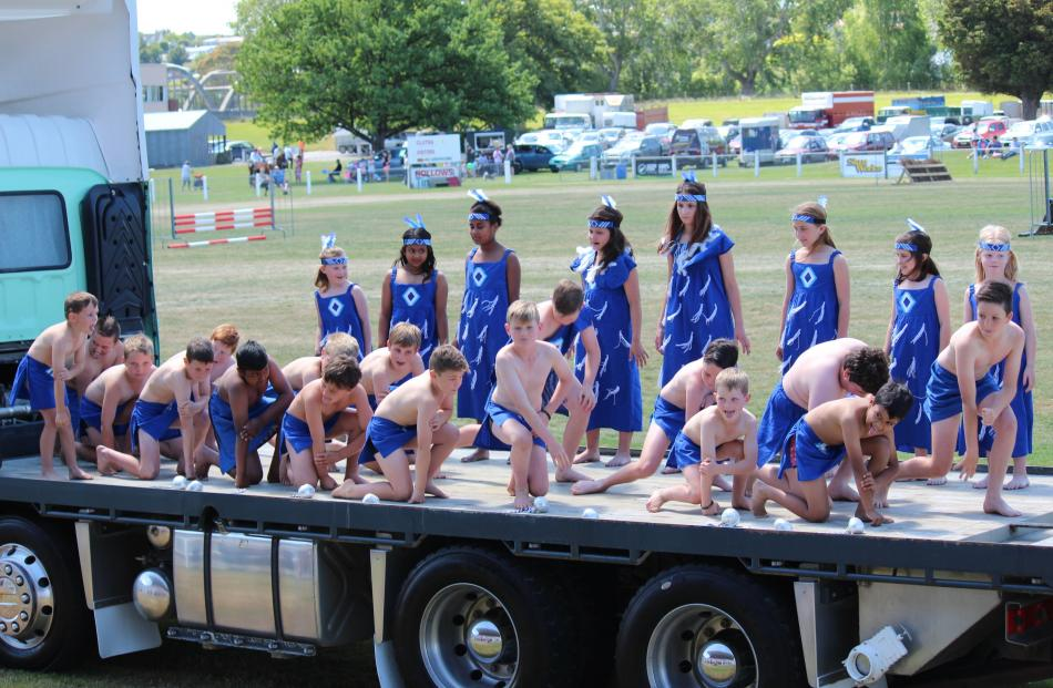 Clutha Valley Primary School kapa haka pupils perform at the South Otago A&P Show on Saturday.