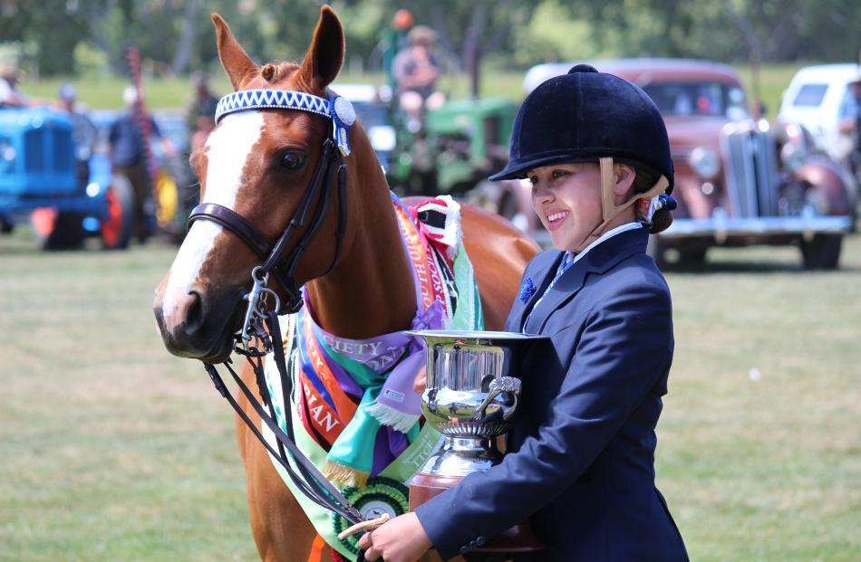 Ashleigh Todd with her pony Glenardon Zsa Zsa Gabor, who won  the Supreme Animal award.