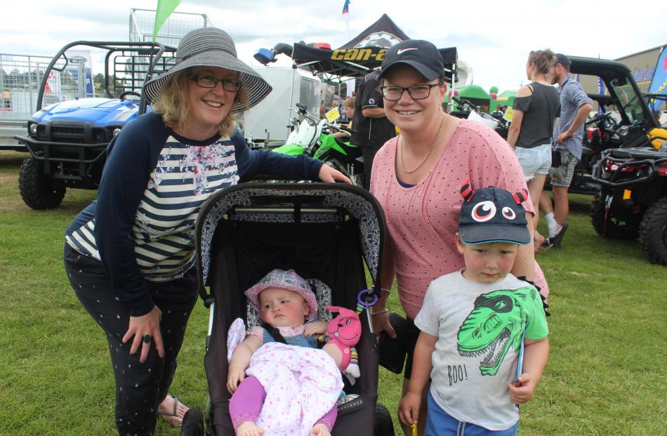 Korena Luscombe and Nicola Law with Olivia McLaren (8 months) and Oliver Law (3), all of Balclutha.
