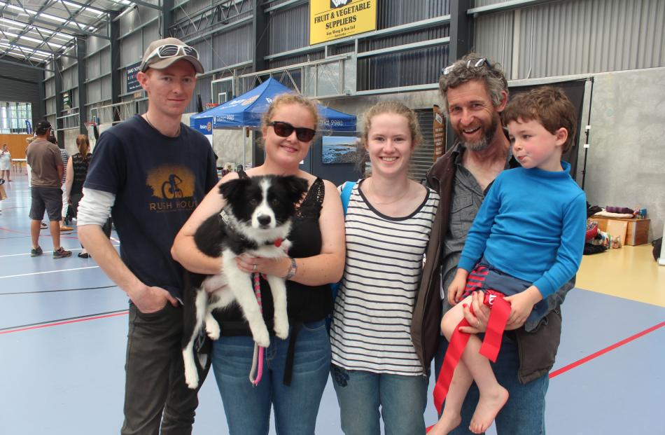 Scott and Nicola (holding dog Indi) Kerr, of Dunedin, with Christina Taylor, of Christchurch, and Warrick Taylor and Liam Nutsford (5), both of Clinton.