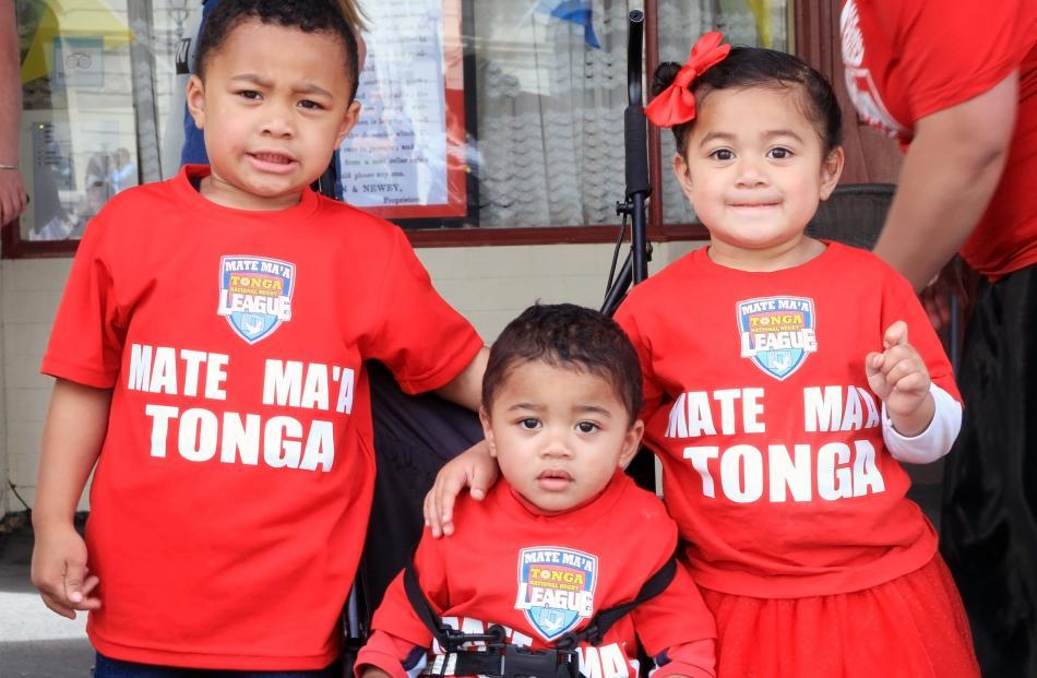 Sione (4), Joshua (1) and Tupou (2) Pangatag,  of Oamaru.