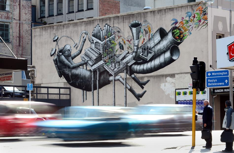 One of Phlegm's murals on the Musicians Club building in Broadway.