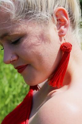 Earrings Lovisa $22.99, off-the-shoulder dress Witchery $149.90