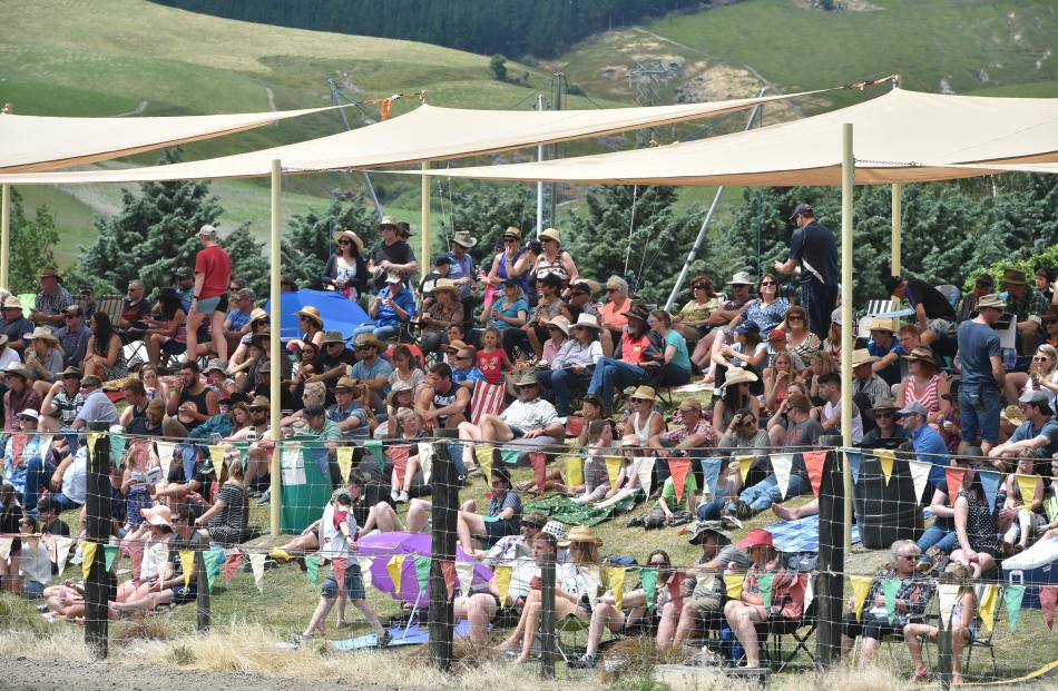 The crowd under the sunshades at last year's Millers Flat Rodeo.
