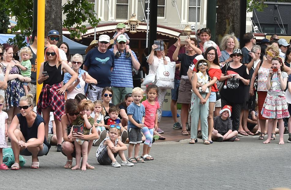 Members of the crowd watch the parade.