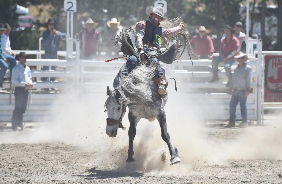 Rakaia's Maddo Taylor in action during the open bareback division in 2015.