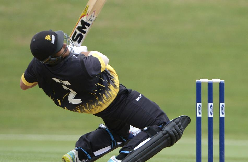 Wellington Firebirds batsman Matt Taylor ducks to avoid a bouncer delivered by Otago Volts bowler Warren Barnes only to be caught behind by wicketkeeper Derek de Boorder, during a Ford Trophy match at the University Oval in Dunedin yesterday. Photos: Gera