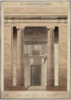 Detail of facade for bank premises (1928). Hocken Collections: Uare Taoka o HakenaMS-3821/3566....