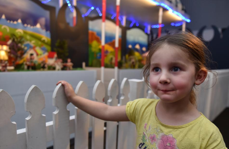 Olivia McKeich (4), of Dunedin, takes in the  sights and sounds of Pixie Town at Toitu Otago...