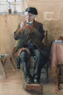 The Old Bachelor — A Stitch in Time 1898, by Frances Hodgkins. Photo: Collection of The Dunedin Public Art Gallery