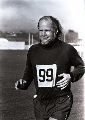 Competing in a running event in the 1980s