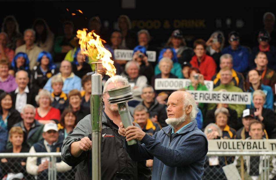 Lighting the flame at the New Zealand Masters Games in 2012.