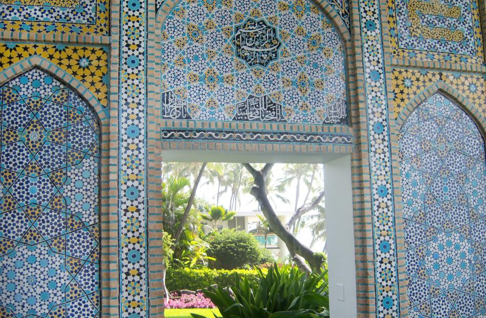 Antique tiles on the patio at Shangri La in Honolulu, Hawaii.