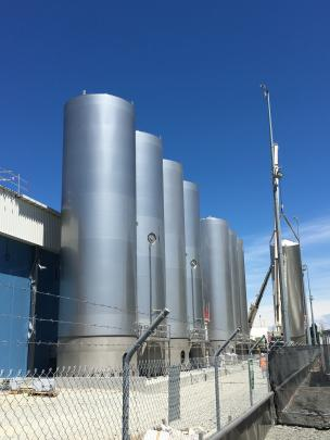 Clandeboye's new mozzarella plant now features 18 silos as part of its development, due for commissioning in May. Photos: Supplied