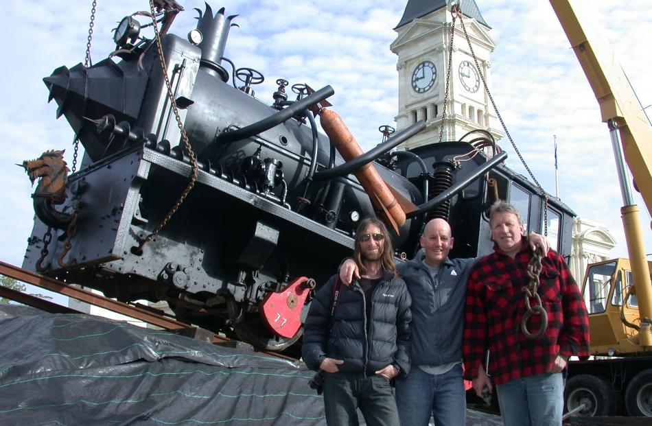 The Steampunk train creation was another brainchild of Don Paterson,  pictured at far right, with...