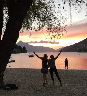 Sue Mortensen and Paula Seymour celebrate Paula's birthday on the shore of Lake Wakatipu at...