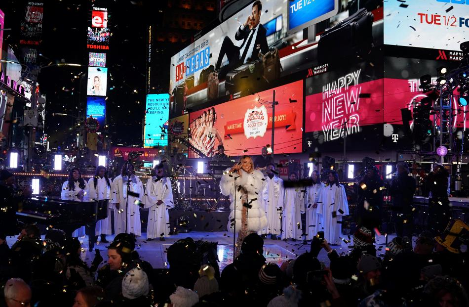 Mariah Carey performs during New Year's eve celebrations in Times Square in New York City. Photo:...