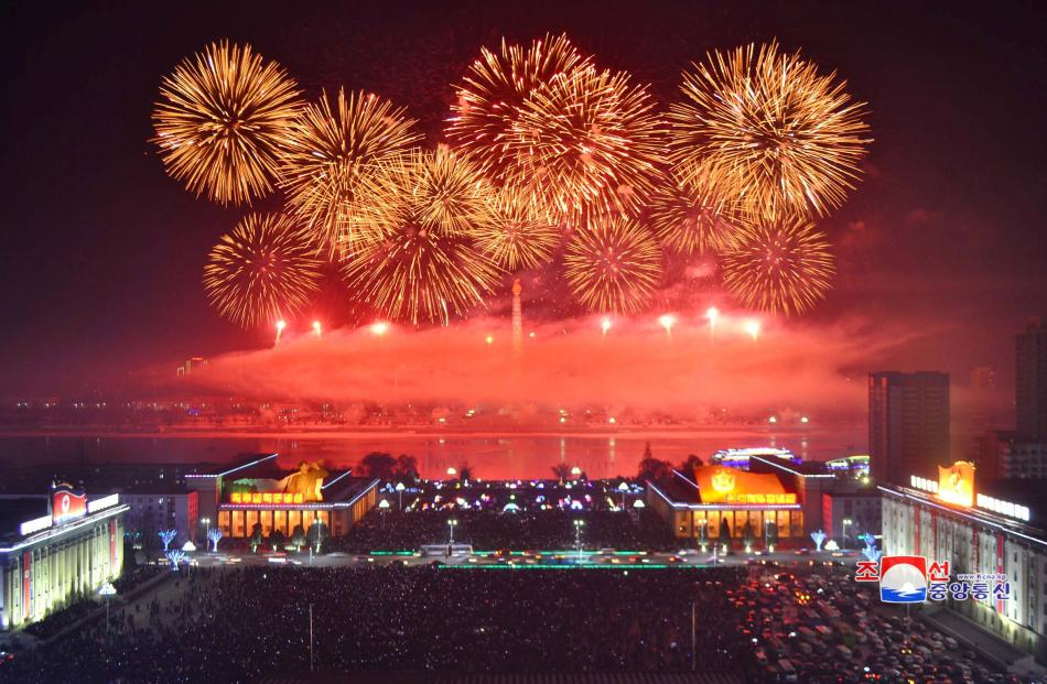 Fireworks are seen during New Year celebrations in this photo released by North Korea's Korean...