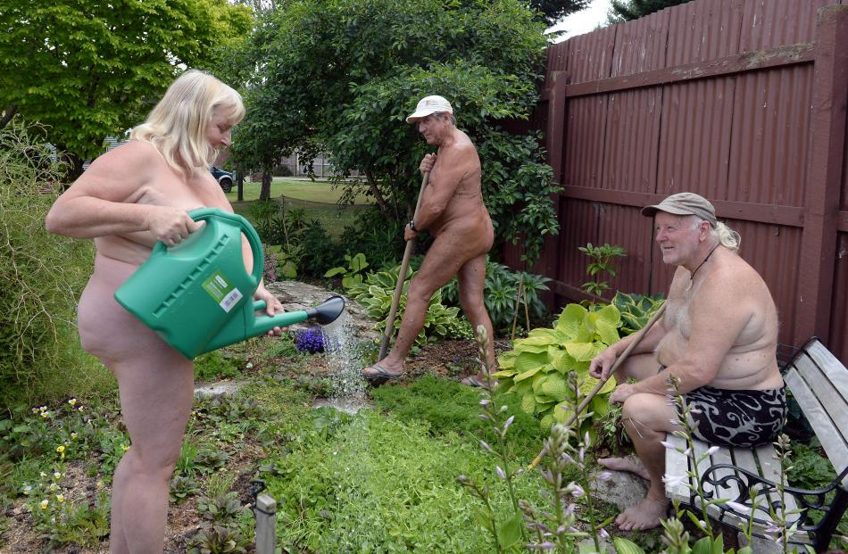 Members of the Orchard Sun Club (from left) Julie Haldane, Keith (surname withheld) and Graeme Haldane tend the garden at the club's grounds at Sutton. Photos: Linda Robertson