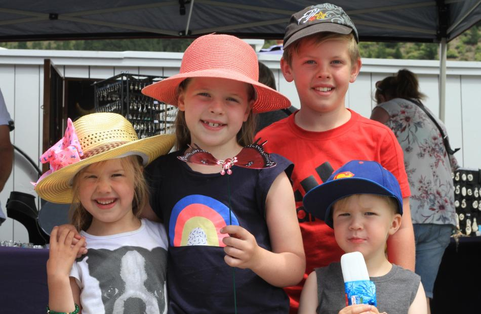 Jena Geddes (5), of Timaru, Olivia (7) and Charlie (9) Cosgrove, of Rangiora, and Chase Geddes (3...