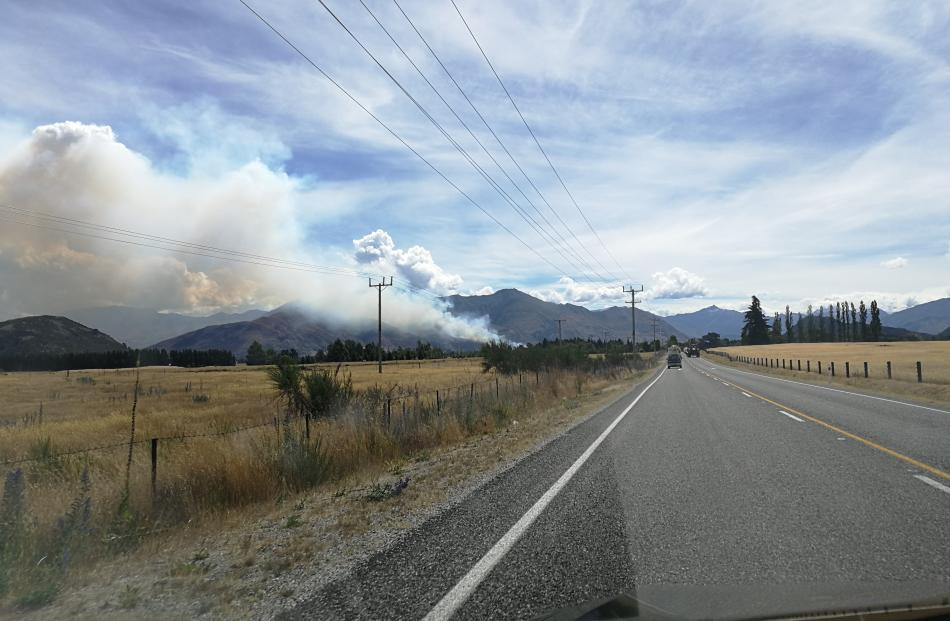 The fire seen from the Wanaka-Luggate Highway this afternoon. Photo: supplied