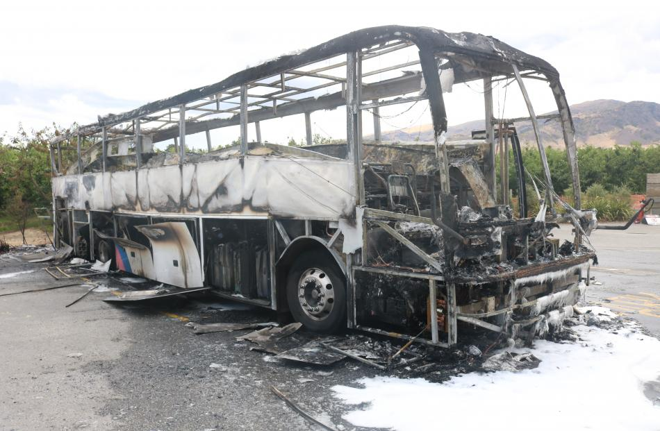 The gutted skeleton of the bus. Photo: Tom Kitchen
