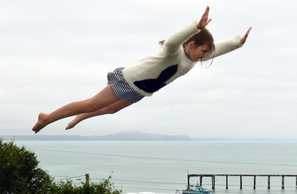 Eve Bretherton (11), of Wanaka, has fun on the Moeraki Village Holiday Park trampoline.
