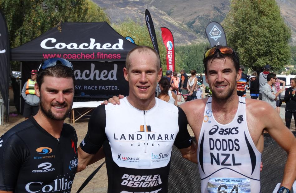Olympic Sprint Triathlon open male podium place-getters Dylan McNeice (3rd) of Christchurch, Dougal Allan (1st) and Tony Dodds (2nd), both of Wanaka.
