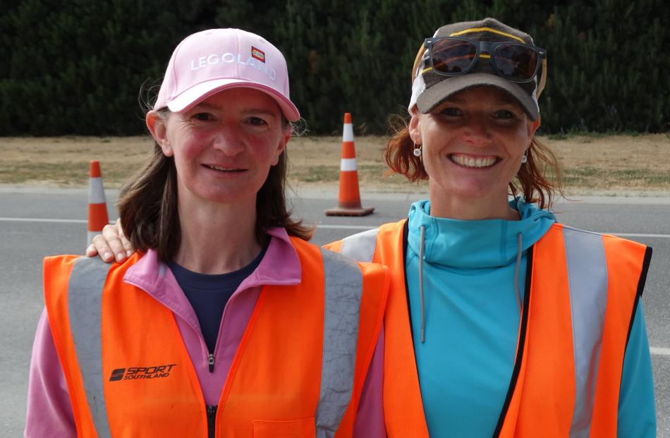 Volunteers Catherine Pell and Mags Helles, of the Wanaka Trampolining & Tumbling Club.