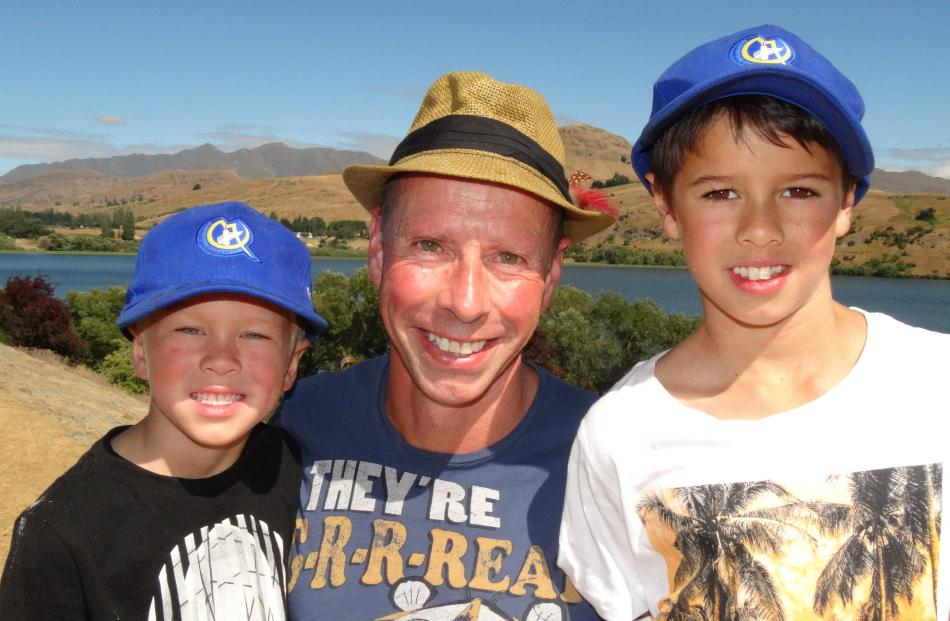 Bede Melville (6) with his father and brother, Simon and Josh (8), all of Arrowtown.