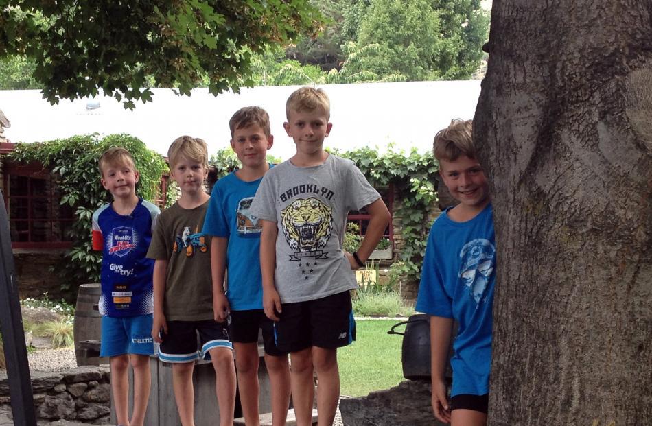 Cousins Lachlan Jefferson (6), Luke Jefferson (8), Thomas Mitchell (8), Jacob Jefferson (10) and Sam Mitchell (10) have fun at the Cardrona Hotel.