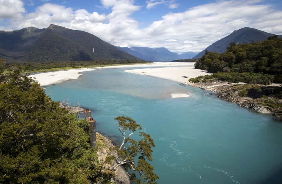 The Arawhata River carves through Haast's landscape on the West Coast.