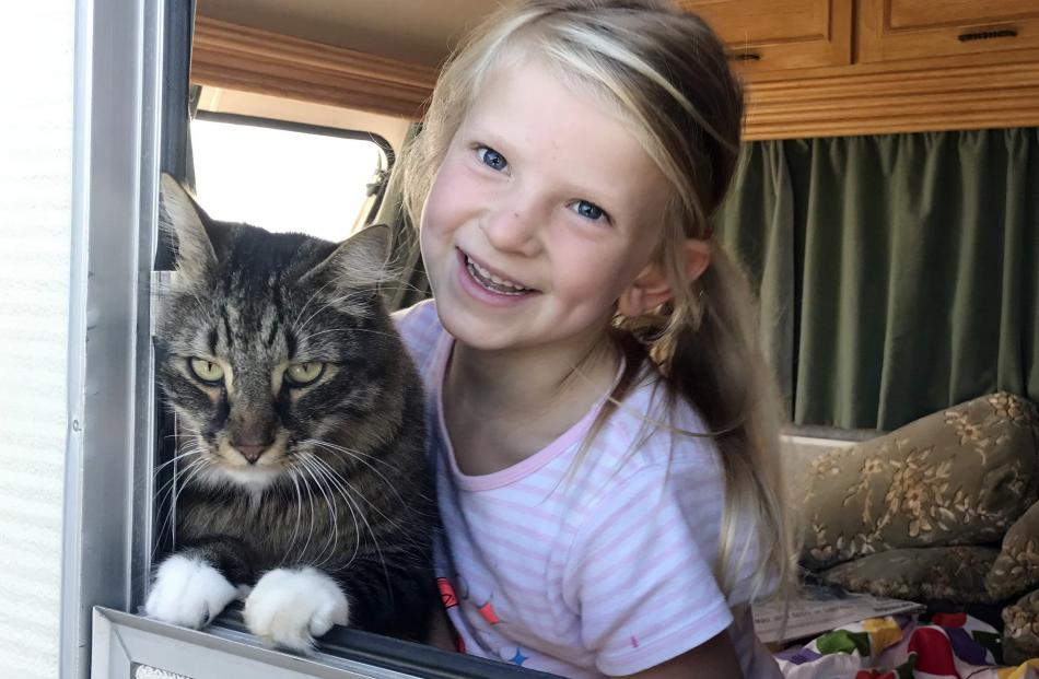 Amelia Claridge (6) and her best bud Jasper (4) hang out in the family's new caravan in Oamaru....