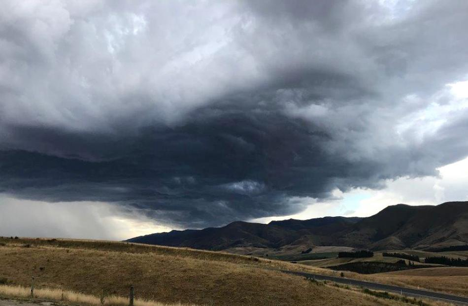 Looking towards Ranfurly from Dunback as a storm brews on Wednesday. Photo: Anne Tocker