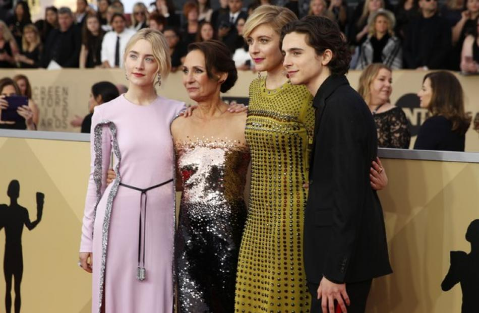 The cast of Lady Bird. Saoirse Ronan, Laurie Metcalf, Greta Gerwig and Timothee Chalamet.