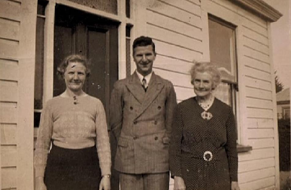 Home owner Eunice Feather (left) with her son Alick Feather and mother Gran Sellar outside the house she bought in 1918. The photo was taken in about 1936.