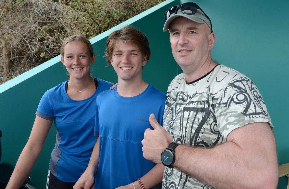 Hannah Rogers (17), Charlie Shearstone (18) and community pools team leader Matt Austin, all of Dunedin.