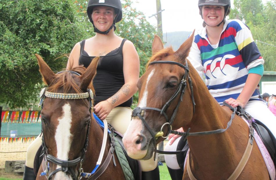 Tayla Padgett, of Waitahuna (on Cheyanne), and Hannah Martin, of Dunedin (on Goldie).