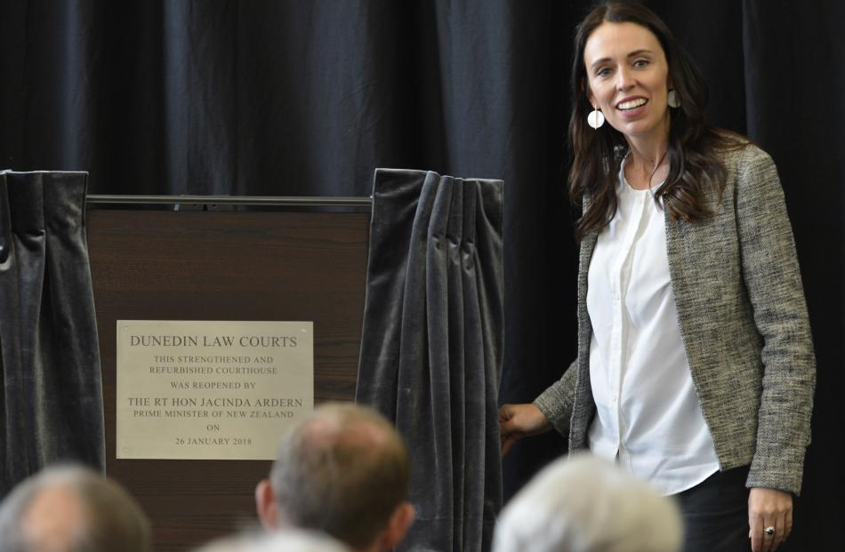 Jacinda Ardern unveils her first plaque since becoming Prime Minister, as part of the Dunedin Law...