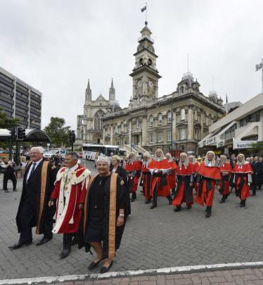 Justice William Young (left), Dunedin Mayor Dave Cull and Chief Justice Dame Sian Elias led...