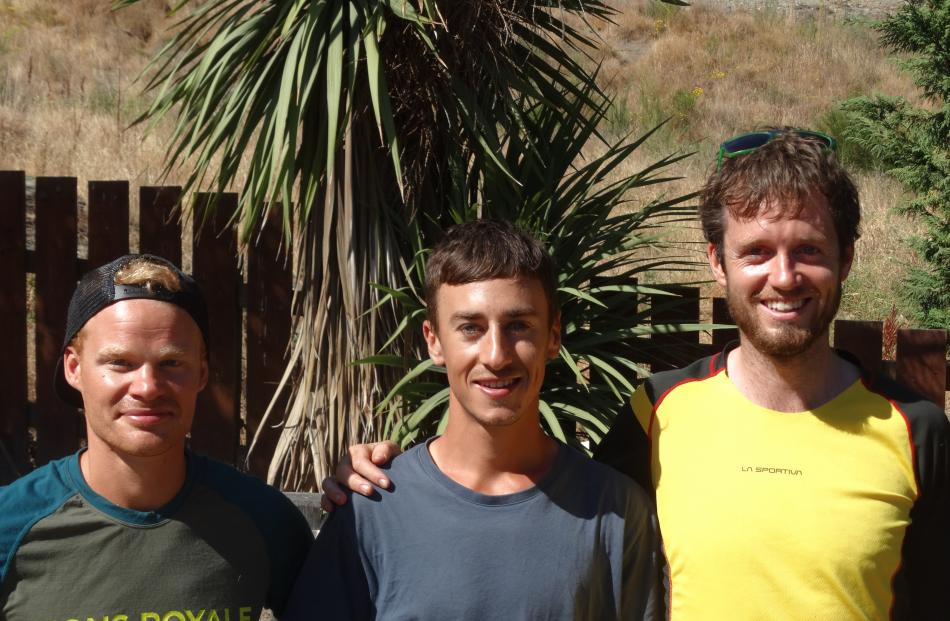 Ultra Easy podium winners Ian Evans of Wanaka (second), Blake Turner, of Sydney (first), and Tom Brazier, of Canberra (third).