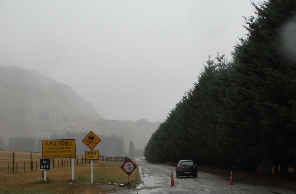 Mt Aspiring Rd past the Treble Cone turnoff was closed yesterday morning due to surface flooding....