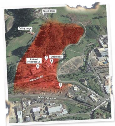 This image shows key areas affected by the fire. Image: ODT/Google