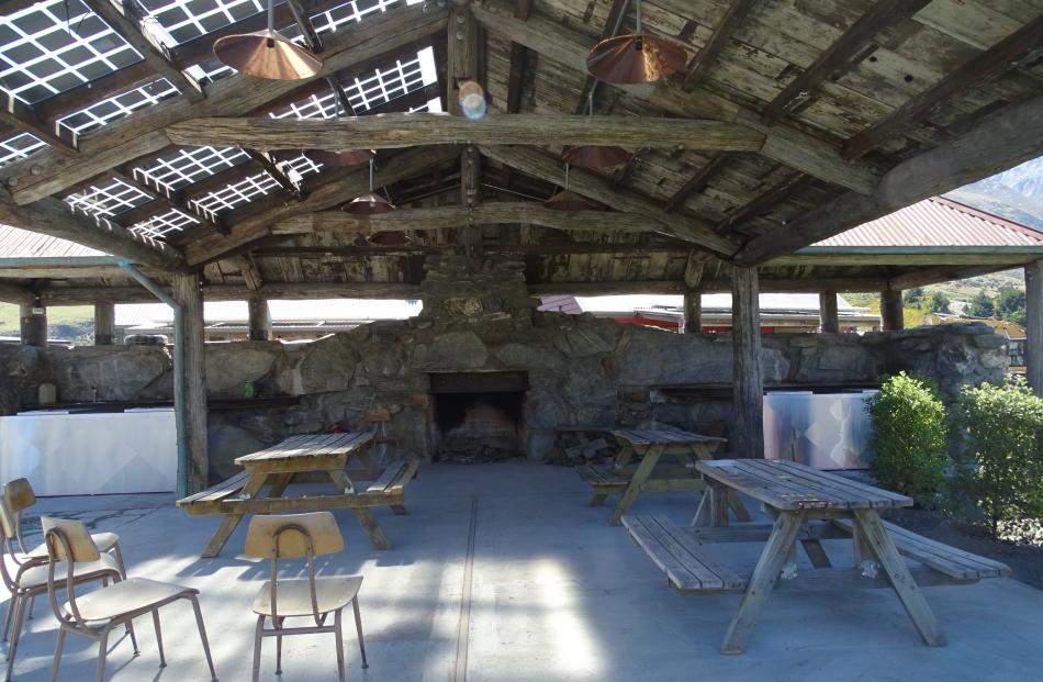 The  ''Scheelite Shelter'' at Camp Glenorchy features a fireplace made from locally sourced...