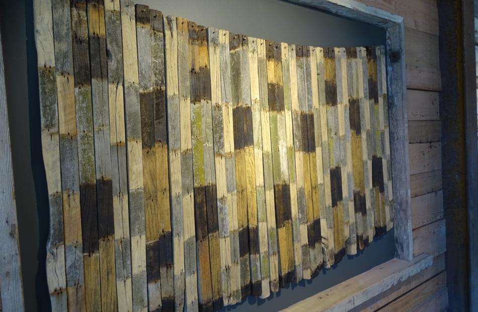 Paulus McKinnon's installation, Korowai Kaiti, made from 38 salvaged  fence battens.